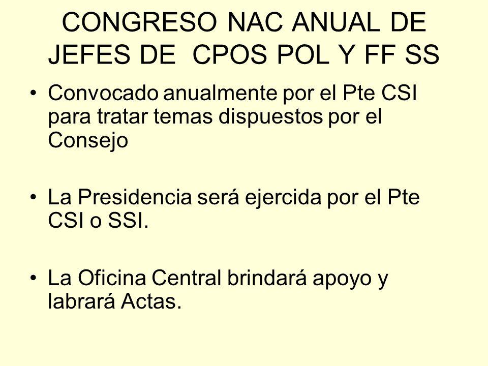 CONGRESO NAC ANUAL DE JEFES DE CPOS POL Y FF SS Convocado anualmente por el Pte CSI para tratar temas dispuestos por el Consejo La Presidencia será ejercida por el Pte CSI o SSI.