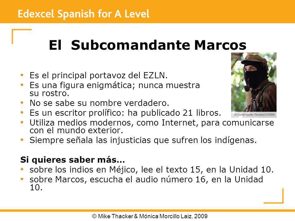 El Subcomandante Marcos Es el principal portavoz del EZLN.