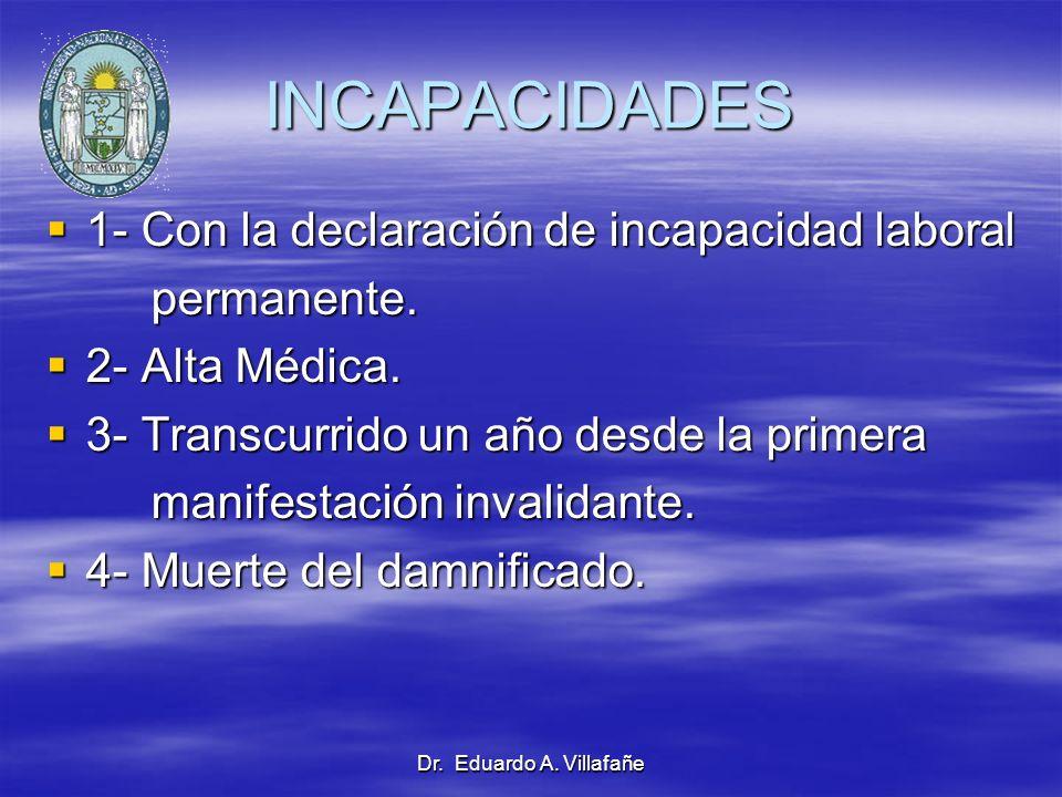 Dr. Eduardo A. Villafañe INCAPACIDADES 1- Con la declaración de incapacidad laboral 1- Con la declaración de incapacidad laboral permanente. permanent