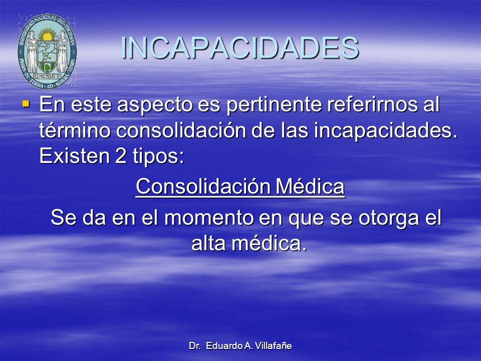 Dr. Eduardo A. Villafañe INCAPACIDADES En este aspecto es pertinente referirnos al término consolidación de las incapacidades. Existen 2 tipos: En est