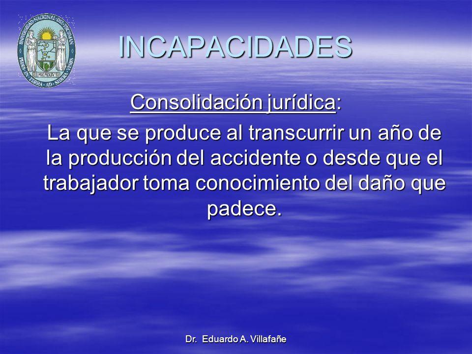 Dr. Eduardo A. Villafañe INCAPACIDADES Consolidación jurídica: La que se produce al transcurrir un año de la producción del accidente o desde que el t