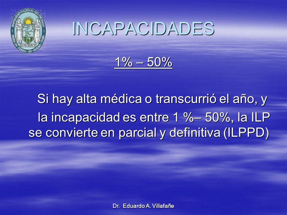Dr. Eduardo A. Villafañe INCAPACIDADES 1% – 50% Si hay alta médica o transcurrió el año, y Si hay alta médica o transcurrió el año, y la incapacidad e