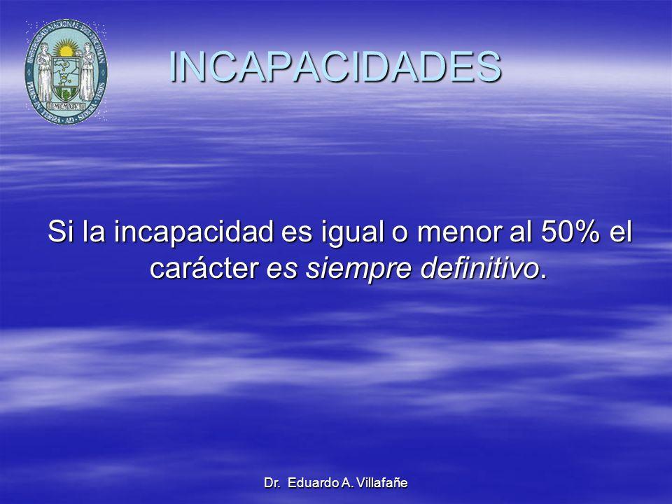 Dr. Eduardo A. Villafañe INCAPACIDADES Si la incapacidad es igual o menor al 50% el carácter es siempre definitivo. Si la incapacidad es igual o menor