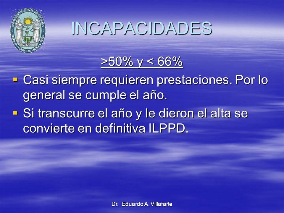 Dr. Eduardo A. Villafañe INCAPACIDADES >50% y 50% y < 66% Casi siempre requieren prestaciones. Por lo general se cumple el año. Casi siempre requieren