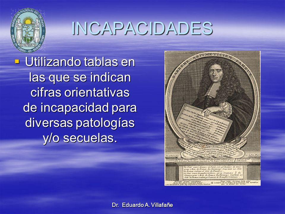 Dr. Eduardo A. Villafañe INCAPACIDADES Utilizando tablas en las que se indican cifras orientativas de incapacidad para diversas patologías y/o secuela