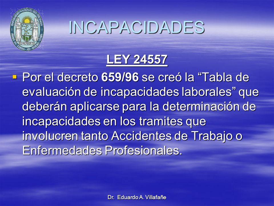 Dr. Eduardo A. Villafañe INCAPACIDADES LEY 24557 Por el decreto 659/96 se creó la Tabla de evaluación de incapacidades laborales que deberán aplicarse