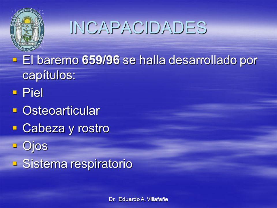Dr. Eduardo A. Villafañe INCAPACIDADES El baremo 659/96 se halla desarrollado por capítulos: El baremo 659/96 se halla desarrollado por capítulos: Pie