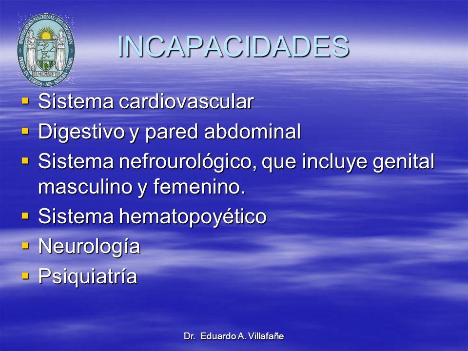 Dr. Eduardo A. Villafañe INCAPACIDADES Sistema cardiovascular Sistema cardiovascular Digestivo y pared abdominal Digestivo y pared abdominal Sistema n