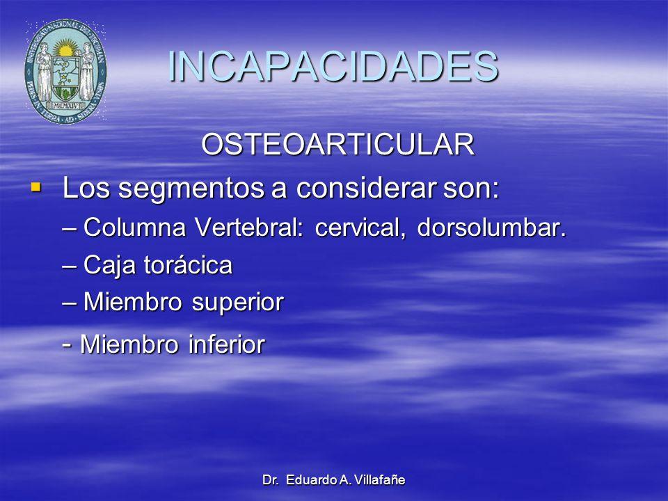 Dr. Eduardo A. Villafañe INCAPACIDADES OSTEOARTICULAR OSTEOARTICULAR Los segmentos a considerar son: Los segmentos a considerar son: –Columna Vertebra
