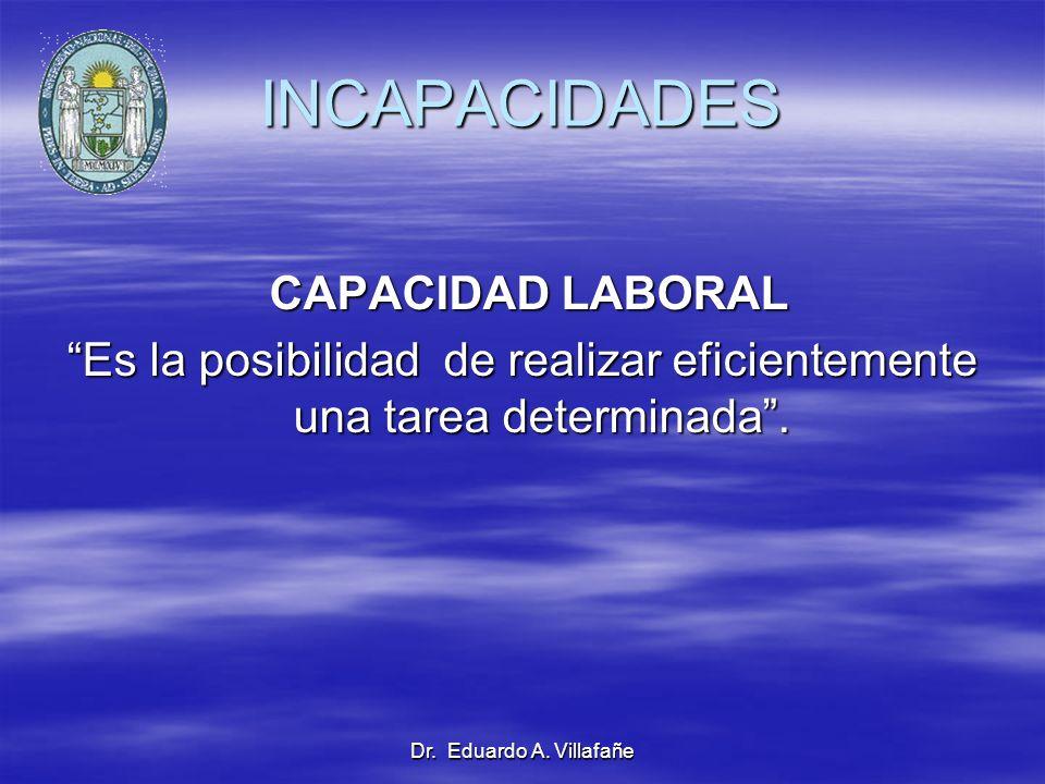 Dr. Eduardo A. Villafañe INCAPACIDADES CAPACIDAD LABORAL CAPACIDAD LABORAL Es la posibilidad de realizar eficientemente una tarea determinada.