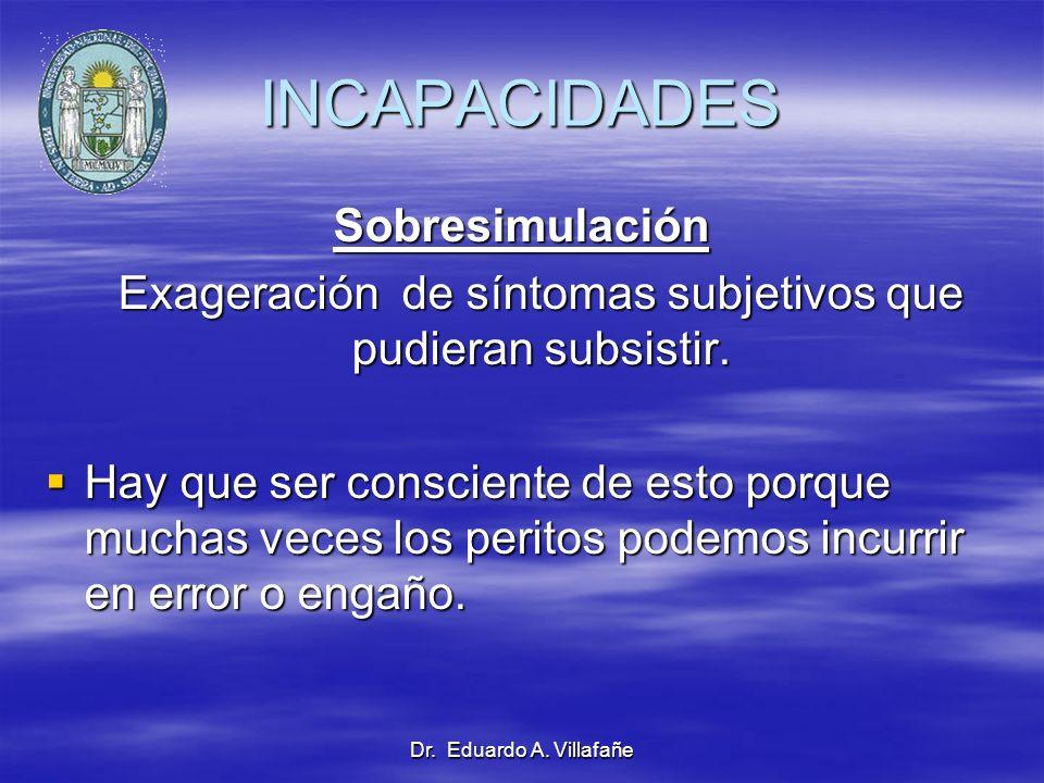 Dr. Eduardo A. Villafañe Sobresimulación Exageración de síntomas subjetivos que pudieran subsistir. Exageración de síntomas subjetivos que pudieran su