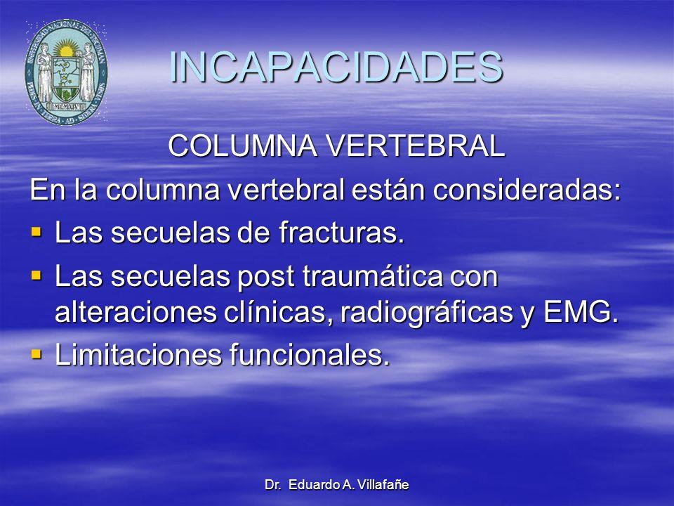 Dr. Eduardo A. Villafañe INCAPACIDADES COLUMNA VERTEBRAL En la columna vertebral están consideradas: Las secuelas de fracturas. Las secuelas de fractu