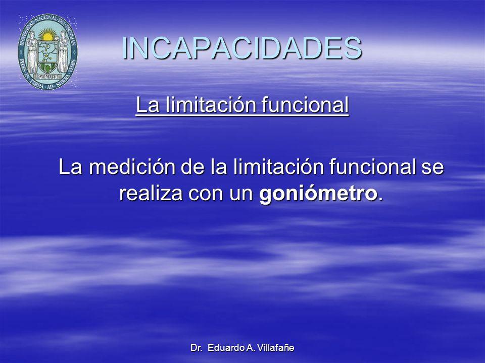Dr. Eduardo A. Villafañe INCAPACIDADES La limitación funcional La medición de la limitación funcional se realiza con un goniómetro. La medición de la