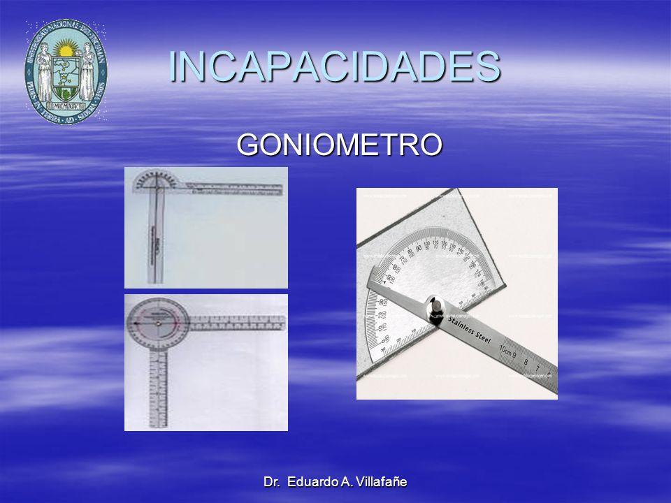 Dr. Eduardo A. Villafañe INCAPACIDADES GONIOMETRO GONIOMETRO