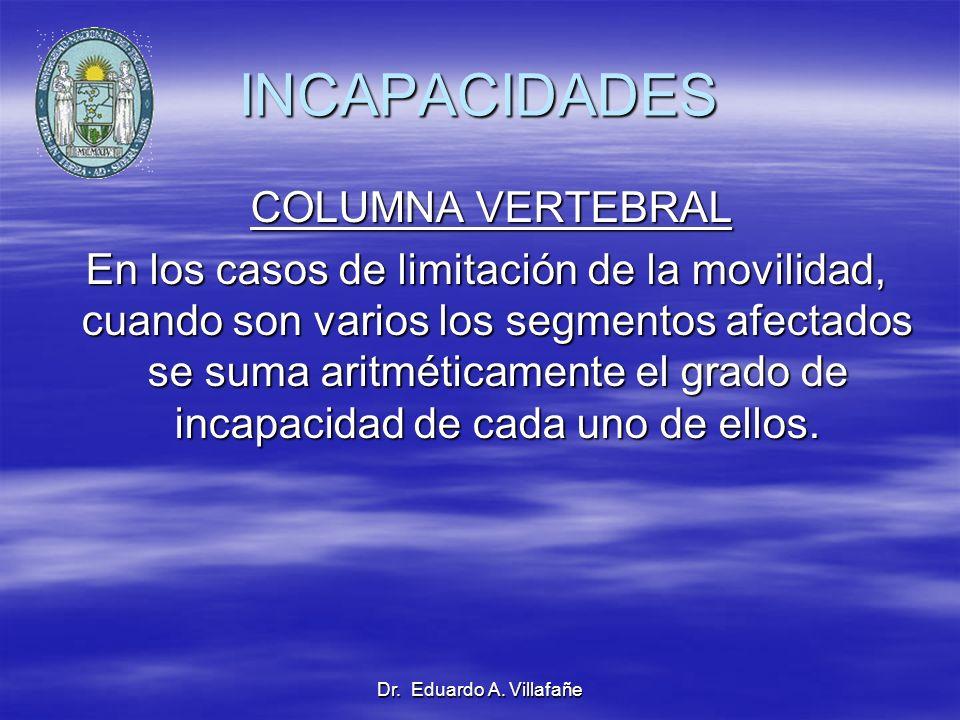 Dr. Eduardo A. Villafañe INCAPACIDADES COLUMNA VERTEBRAL COLUMNA VERTEBRAL En los casos de limitación de la movilidad, cuando son varios los segmentos