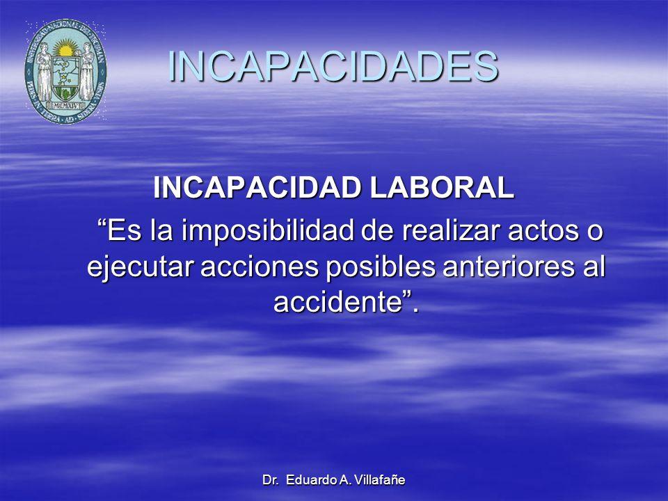 Dr. Eduardo A. Villafañe INCAPACIDADES INCAPACIDAD LABORAL Es la imposibilidad de realizar actos o ejecutar acciones posibles anteriores al accidente.