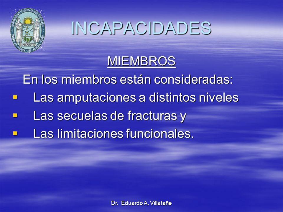 Dr. Eduardo A. Villafañe INCAPACIDADES MIEMBROS En los miembros están consideradas: En los miembros están consideradas: Las amputaciones a distintos n