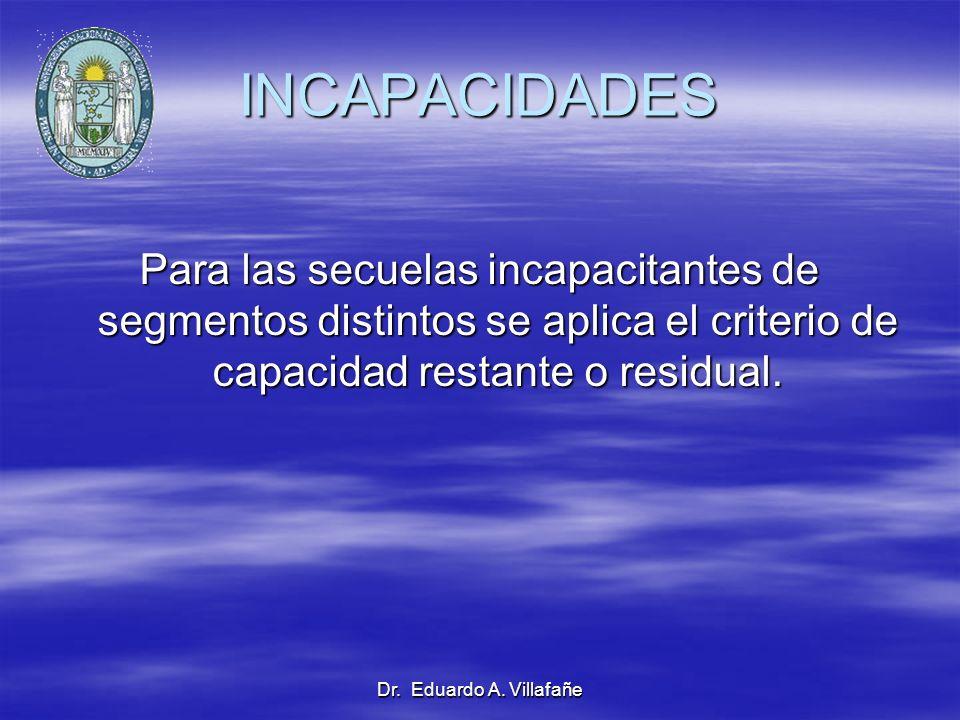 Dr. Eduardo A. Villafañe INCAPACIDADES Para las secuelas incapacitantes de segmentos distintos se aplica el criterio de capacidad restante o residual.