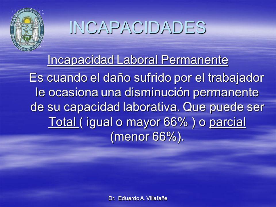 Dr. Eduardo A. Villafañe INCAPACIDADES Incapacidad Laboral Permanente Es cuando el daño sufrido por el trabajador le ocasiona una disminución permanen