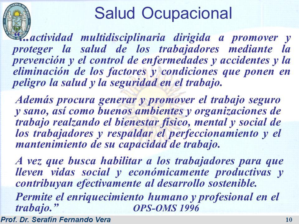 Prof. Dr. Serafín Fernando Vera 10 Salud Ocupacional... actividad multidisciplinaria dirigida a promover y proteger la salud de los trabajadores media