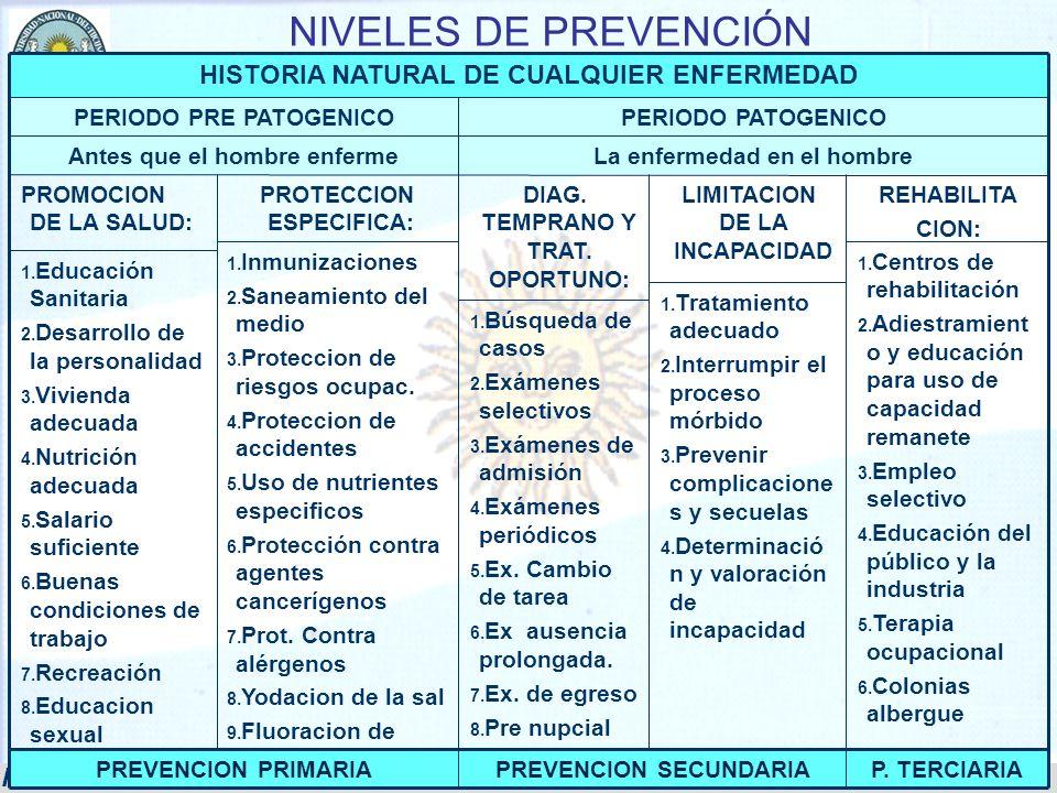 Prof. Dr. Serafín Fernando Vera 19 NIVELES DE PREVENCIÓN 1. Centros de rehabilitación 2. Adiestramient o y educación para uso de capacidad remanete 3.