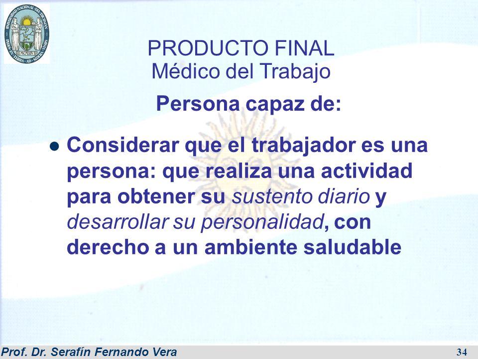 Prof. Dr. Serafín Fernando Vera 34 PRODUCTO FINAL Médico del Trabajo Considerar que el trabajador es una persona: que realiza una actividad para obten