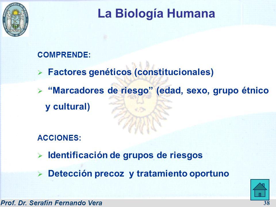 Prof. Dr. Serafín Fernando Vera 38 COMPRENDE: Factores genéticos (constitucionales) Marcadores de riesgo (edad, sexo, grupo étnico y cultural) ACCIONE