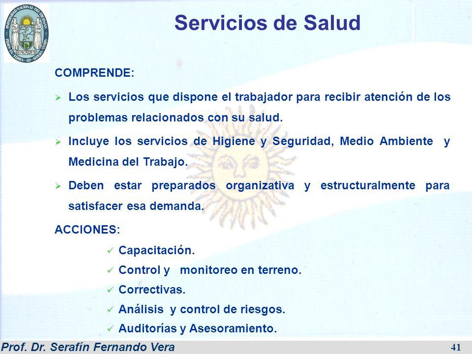 Prof. Dr. Serafín Fernando Vera 41 COMPRENDE: Los servicios que dispone el trabajador para recibir atención de los problemas relacionados con su salud