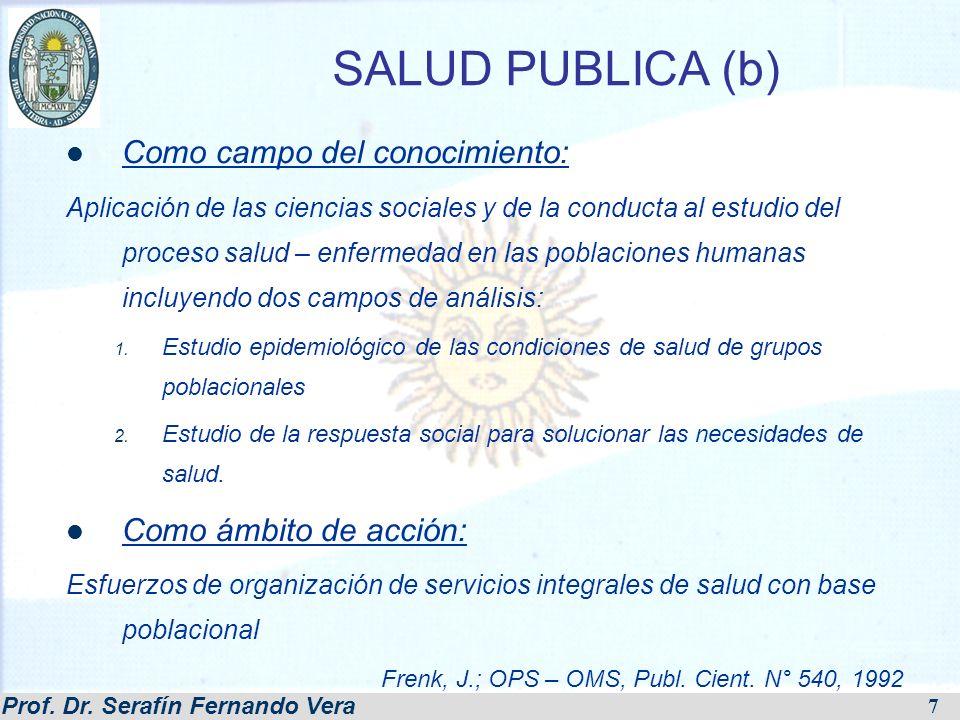 Prof. Dr. Serafín Fernando Vera 7 SALUD PUBLICA (b) Como campo del conocimiento: Aplicación de las ciencias sociales y de la conducta al estudio del p