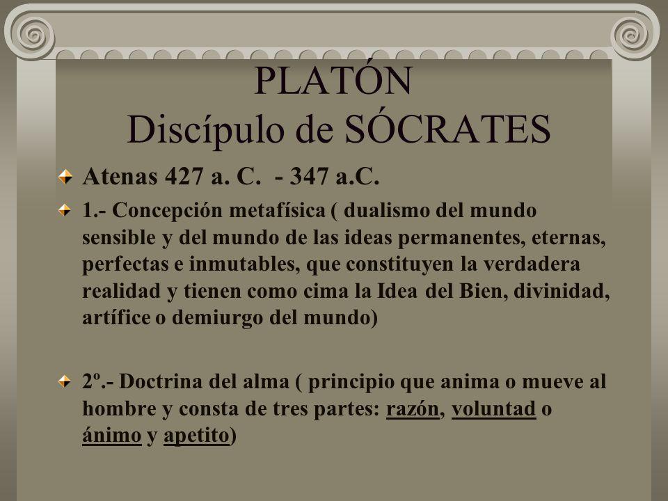 PLATÓN Discípulo de SÓCRATES Atenas 427 a. C. - 347 a.C. 1.- Concepción metafísica ( dualismo del mundo sensible y del mundo de las ideas permanentes,