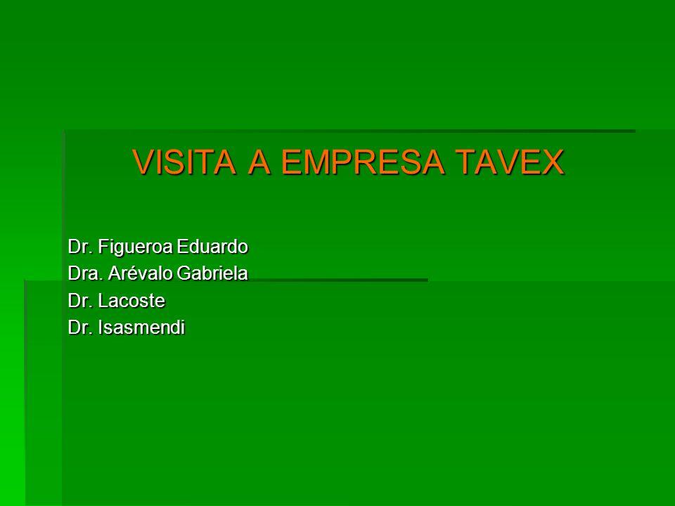 VISITA A EMPRESA TAVEX Dr. Figueroa Eduardo Dra. Arévalo Gabriela Dr. Lacoste Dr. Isasmendi