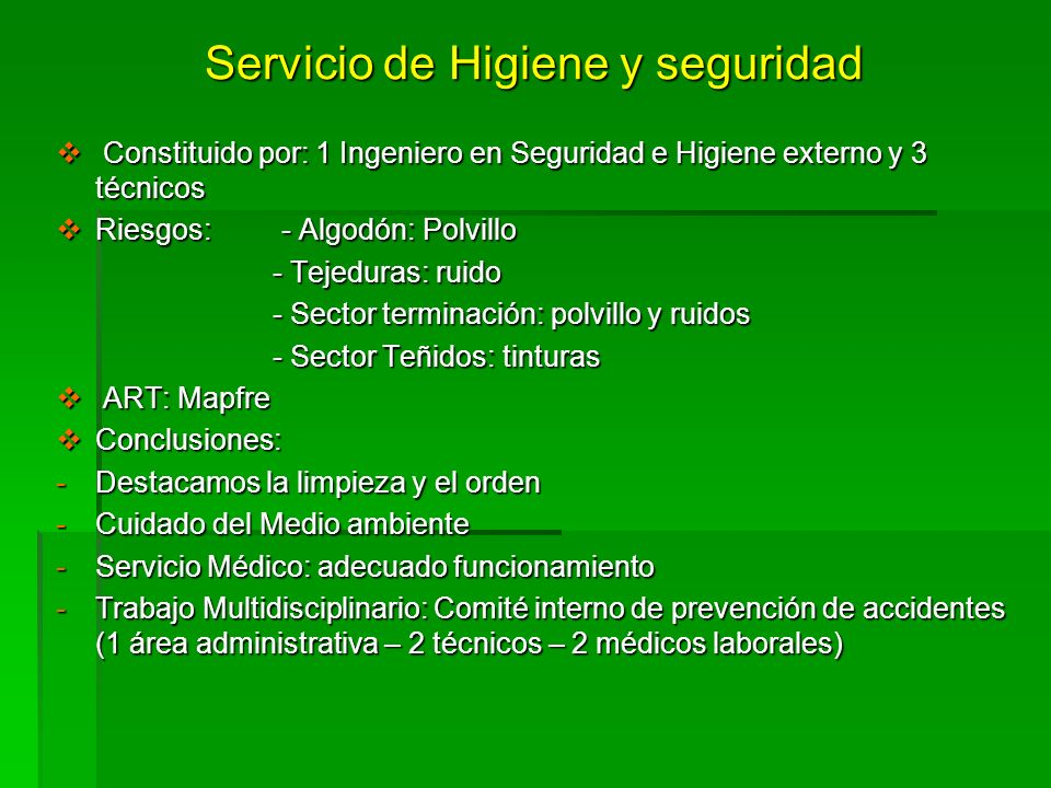 Servicio de Higiene y seguridad Constituido por: 1 Ingeniero en Seguridad e Higiene externo y 3 técnicos Constituido por: 1 Ingeniero en Seguridad e H