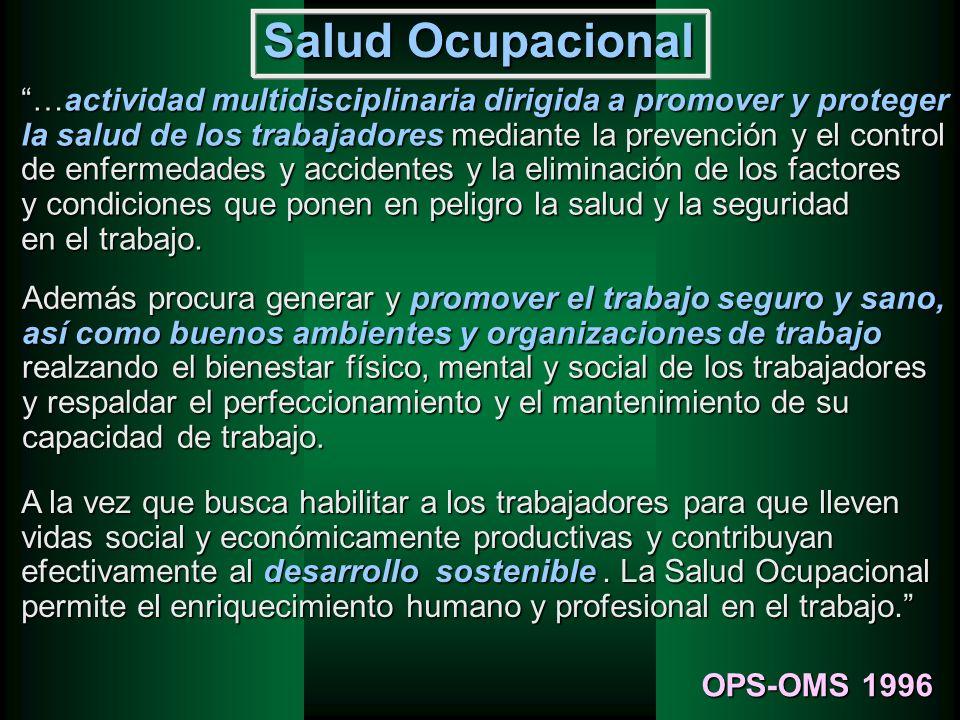 Salud Ocupacional …actividad multidisciplinaria dirigida a promover y proteger la salud de los trabajadores mediante la prevención y el control de enf