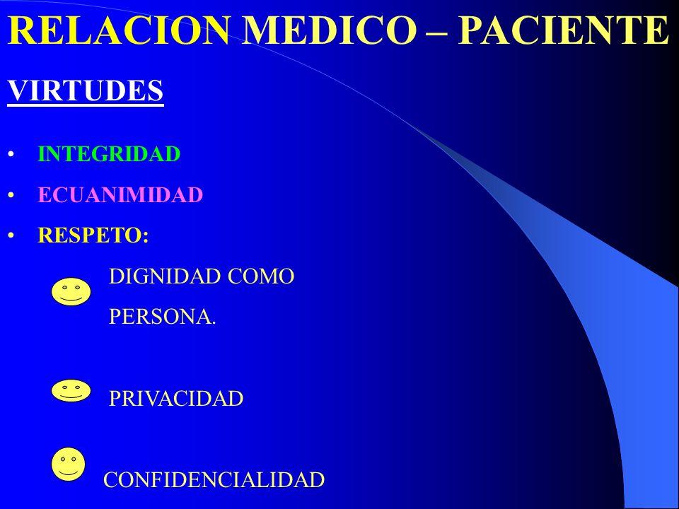 RELACION MEDICO – PACIENTE VIRTUDES INTEGRIDAD ECUANIMIDAD RESPETO: DIGNIDAD COMO PERSONA. PRIVACIDAD CONFIDENCIALIDAD