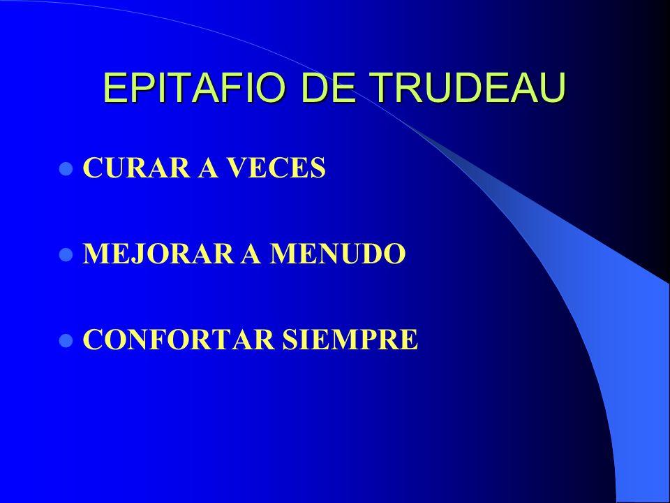 EPITAFIO DE TRUDEAU CURAR A VECES MEJORAR A MENUDO CONFORTAR SIEMPRE
