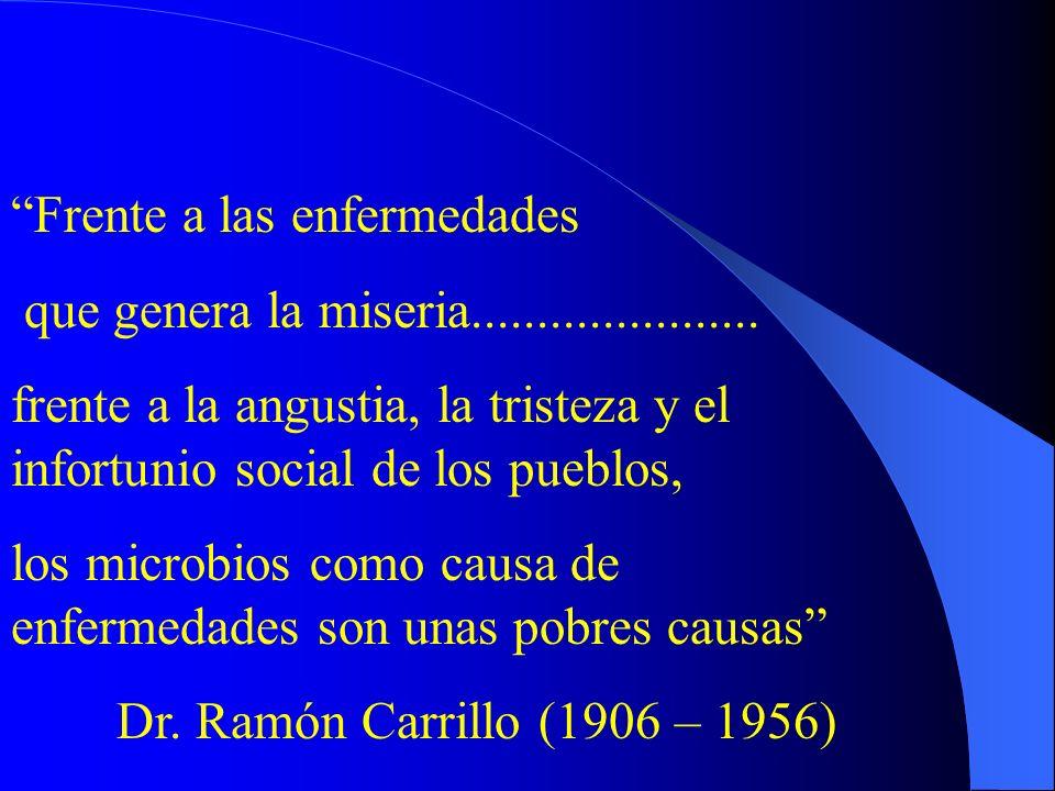 Frente a las enfermedades que genera la miseria...................... frente a la angustia, la tristeza y el infortunio social de los pueblos, los mic