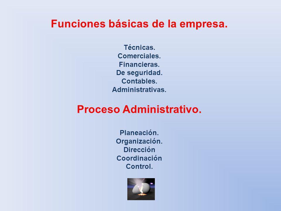 Funciones básicas de la empresa. Técnicas. Comerciales. Financieras. De seguridad. Contables. Administrativas. Proceso Administrativo. Planeación. Org