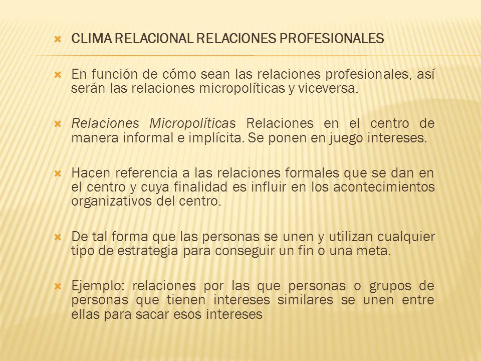 CLIMA RELACIONAL RELACIONES PROFESIONALES En función de cómo sean las relaciones profesionales, así serán las relaciones micropolíticas y viceversa. R