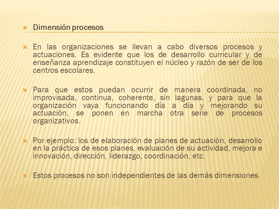 Dimensión procesos En las organizaciones se llevan a cabo diversos procesos y actuaciones. Es evidente que los de desarrollo curricular y de enseñanza