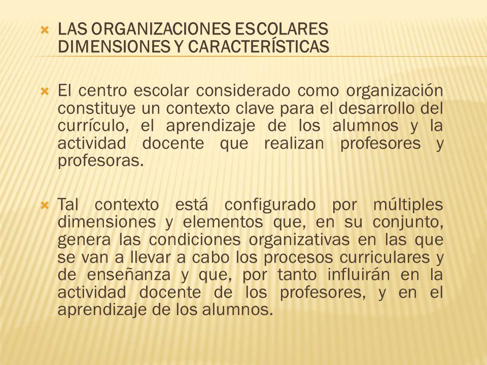 LAS ORGANIZACIONES ESCOLARES DIMENSIONES Y CARACTERÍSTICAS El centro escolar considerado como organización constituye un contexto clave para el desarr
