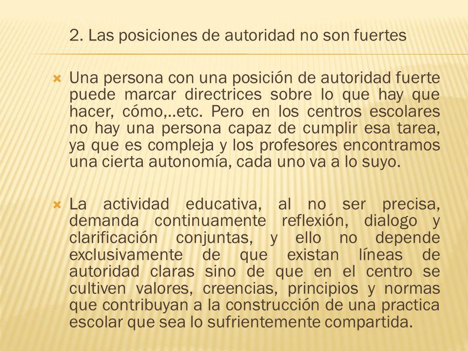 2. Las posiciones de autoridad no son fuertes Una persona con una posición de autoridad fuerte puede marcar directrices sobre lo que hay que hacer, có