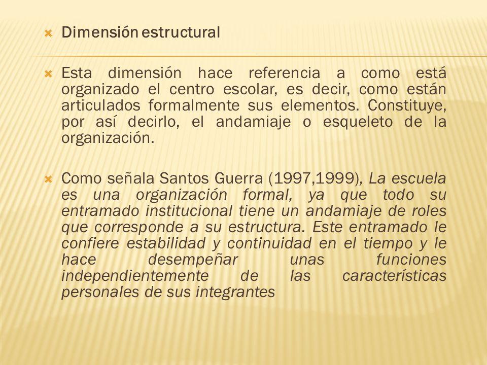 Dimensión estructural Esta dimensión hace referencia a como está organizado el centro escolar, es decir, como están articulados formalmente sus elemen