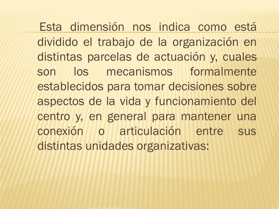 Esta dimensión nos indica como está dividido el trabajo de la organización en distintas parcelas de actuación y, cuales son los mecanismos formalmente