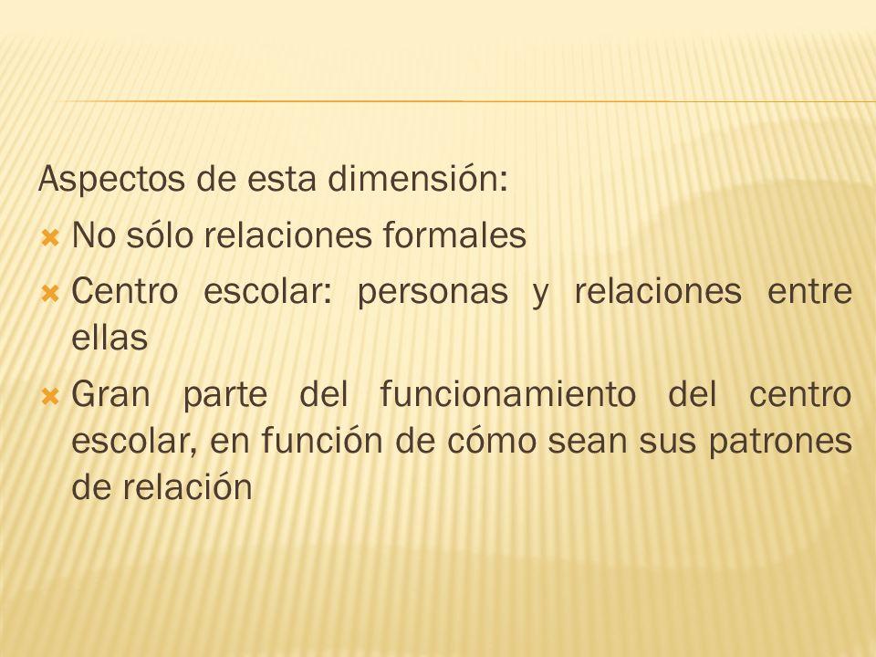 Aspectos de esta dimensión: No sólo relaciones formales Centro escolar: personas y relaciones entre ellas Gran parte del funcionamiento del centro esc