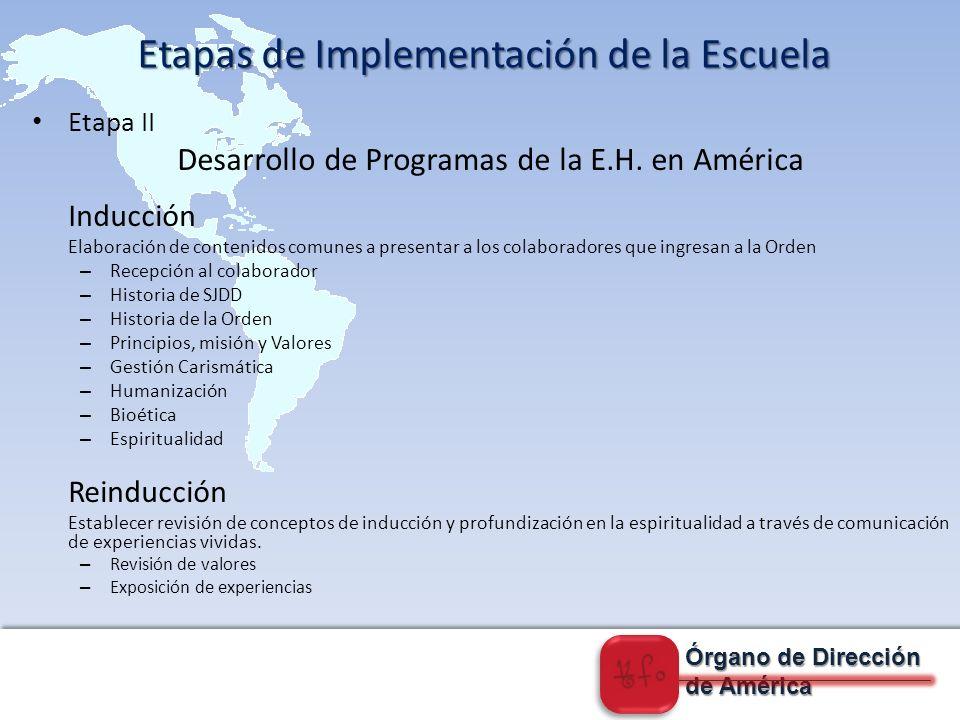 Órgano de Dirección de América Etapa II D esarrollo de Programas de la E.H.