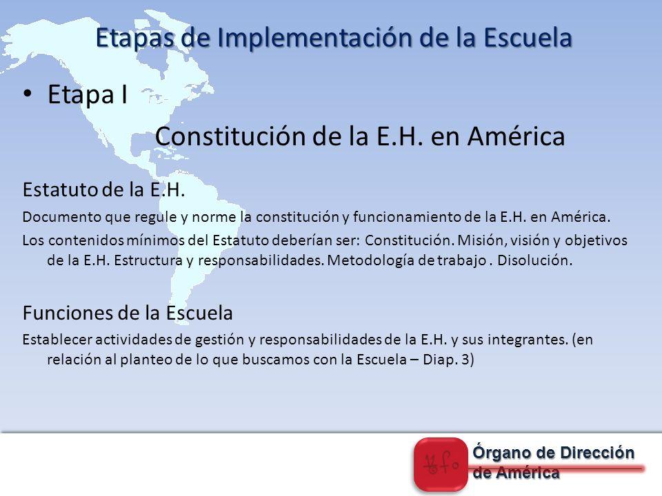 Órgano de Dirección de América Etapa I Constitución de la E.H.