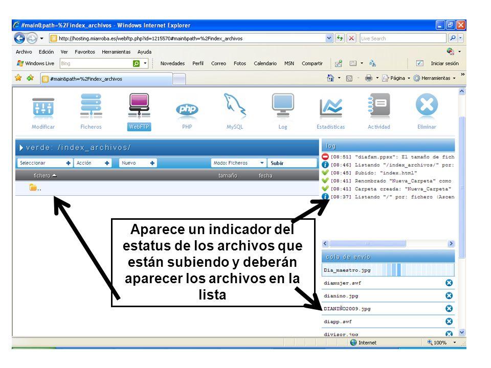 Aparece un indicador del estatus de los archivos que están subiendo y deberán aparecer los archivos en la lista