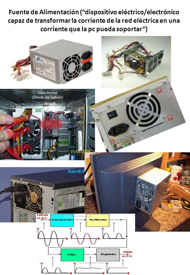 Fuente de Alimentación (dispositivo eléctrico/electrónico capaz de transformar la corriente de la red eléctrica en una corriente que la pc pueda sopor