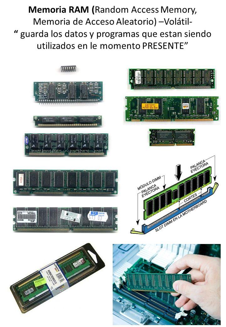Memoria RAM (Random Access Memory, Memoria de Acceso Aleatorio) –Volátil- guarda los datos y programas que estan siendo utilizados en le momento PRESE