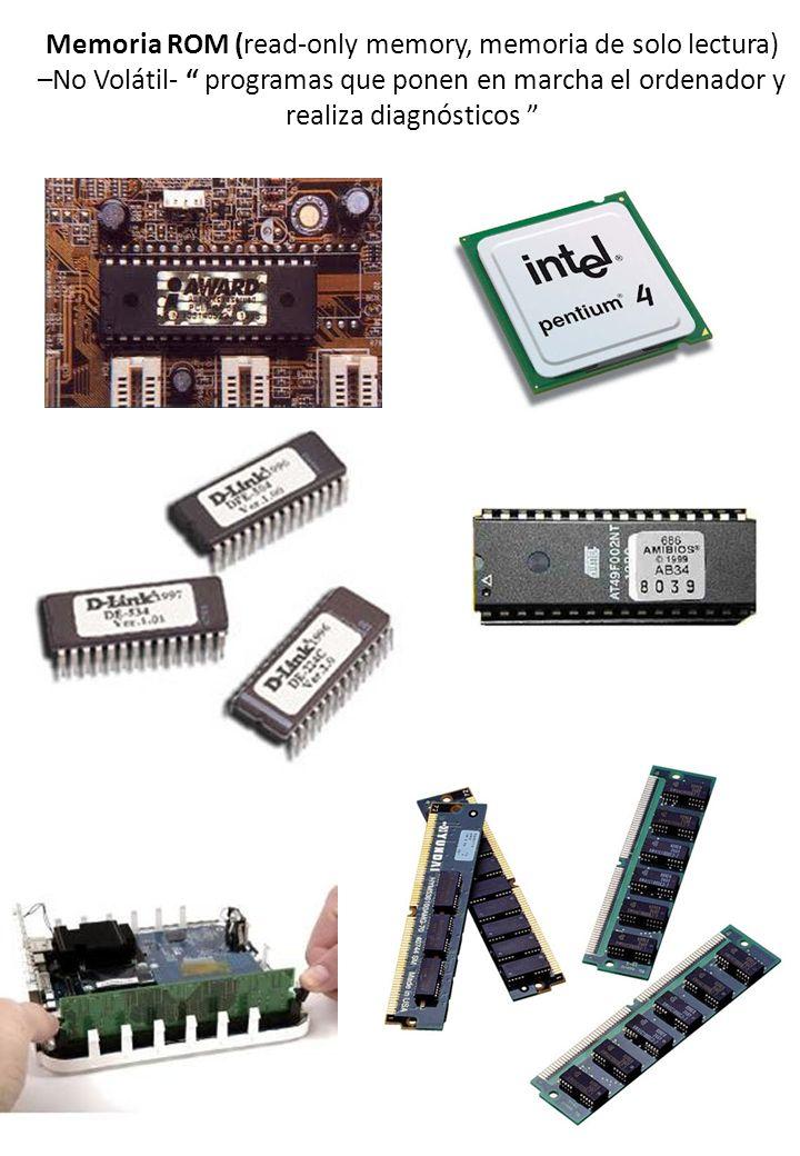 Memoria ROM (read-only memory, memoria de solo lectura) –No Volátil- programas que ponen en marcha el ordenador y realiza diagnósticos